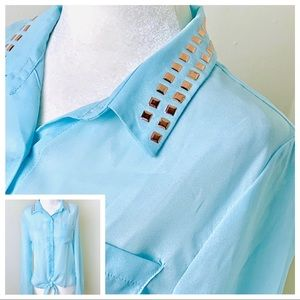 New Long Sleeve Metal accents Tie Front BLOUSE TOP